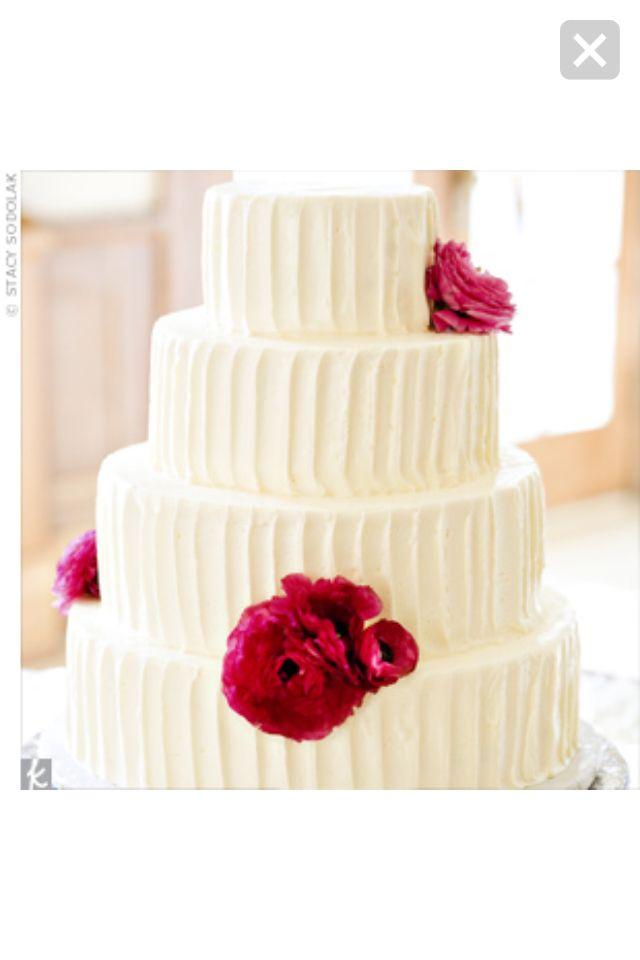 White buttercreme wedding cake