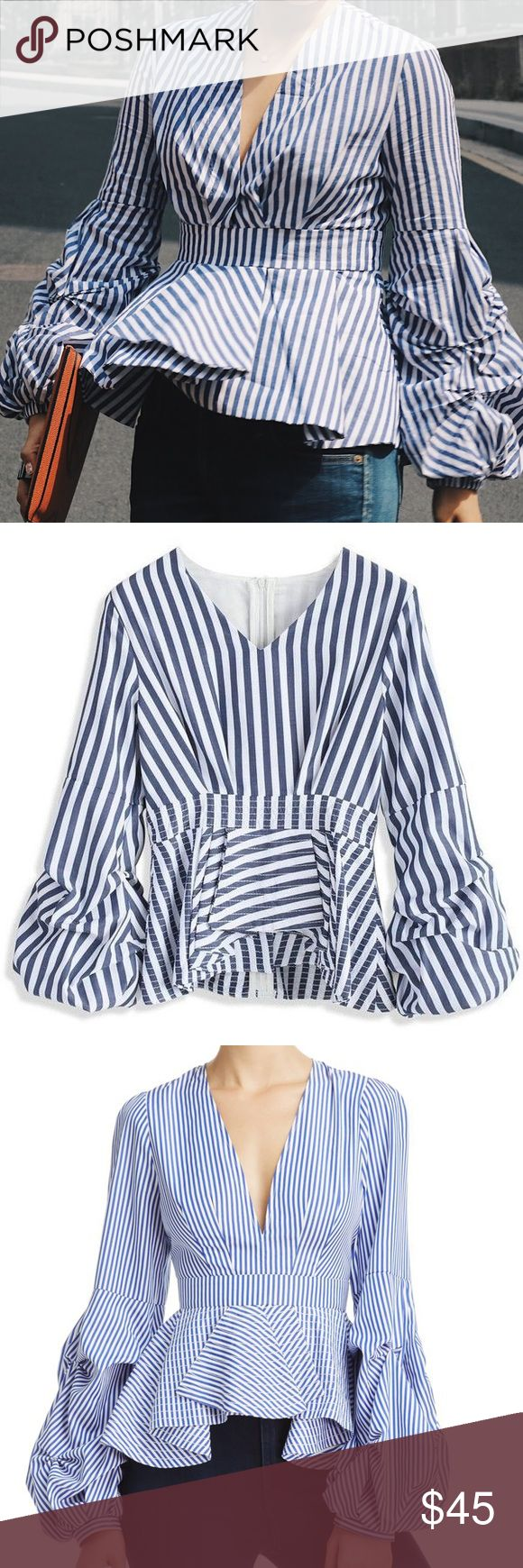 "🆕Peplum Striped Balloon Sleeve Top Color is white based with blue stripes as shown in last photo   Plunging V-neck, banded waist, asymmetric ruffled peplum bottom with back folded details Long sleeves with puckered and draped balloon cuffs Striped poplin fabric, back zip closure, unlined Model measurements: 5'10"" height, 33.5"" bust, 23.5"" waist, 34.5"" hips Polyester Hand wash Imported By Do + Be Bloomingdale's Tops Blouses"