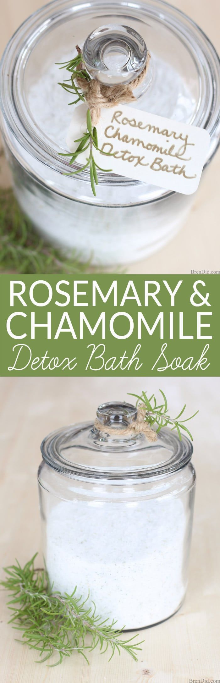 A hot bath is a relaxing way to unwind and end the day. It can be especially beneficially when you add detox bath salts that help to remove toxins, promote peaceful sleep and aid in weight loss. This all-natural Rosemary Chamomile Detox Bath Soak recipe uses simple ingredients to prepare an inexpensive but luxurious detox bath.  via @brendidblog