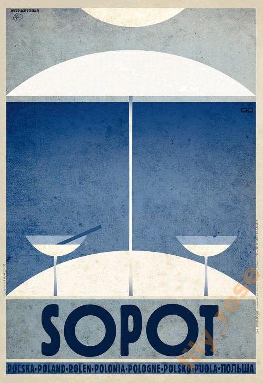 Polish Travel Poster by Ryszard Kaja (b. 1962), Sopot. (Seaside town in Eastern Pomerania on the southern coast of the Baltic Sea in northern Poland)