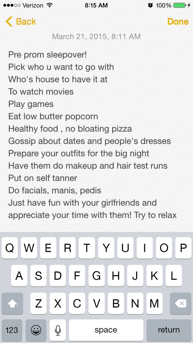 Pre prom sleepover checklist! Can be done the night b4 prom
