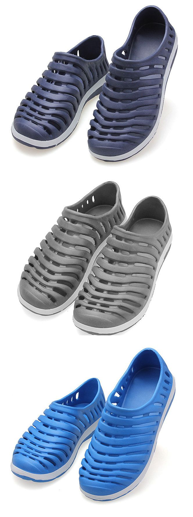 Men Pure Color Hollow Out Breathable Slip On Flat Beach Shoes