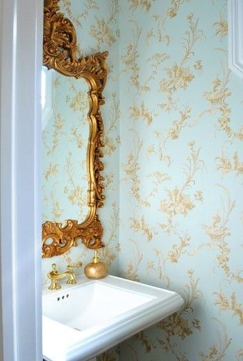 bathroom wall paper: Ideas, Gold Mirror, Bathroom Mirror, Bathroom Wallpaper, Blue And Gold Bathrooms, Tiny Bathroom, Design, Powder Rooms