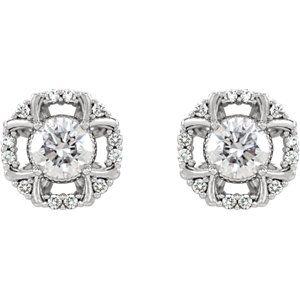 NEW! A refreshing twist on halo-style diamond earrings.  Item #86628