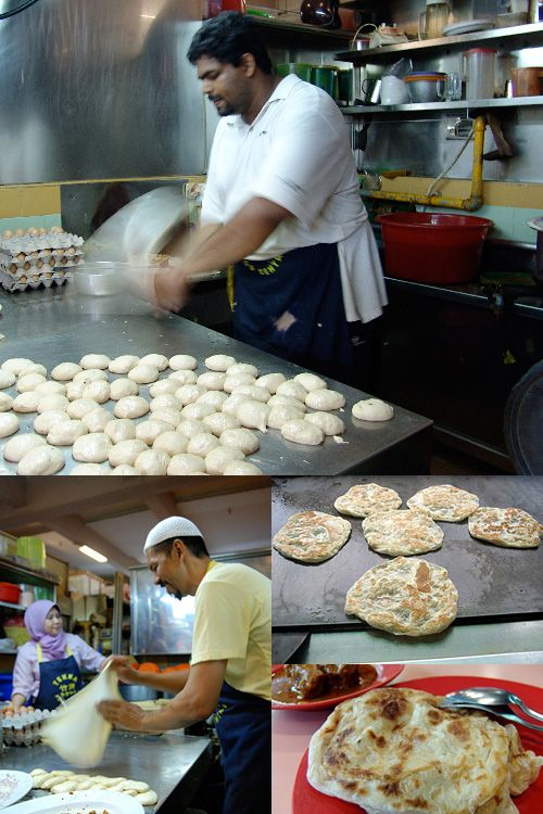 Roti Canai -- originated from southern India, but was modified and made famous by the mamak (Muslim-Indian) hawkers in Malaysia and Singapore. In Malaysia, this crispy and buttery (actually made with ghee) flat bread is called roti canai but across the straits in Singapore, they are commonly known as roti paratha.