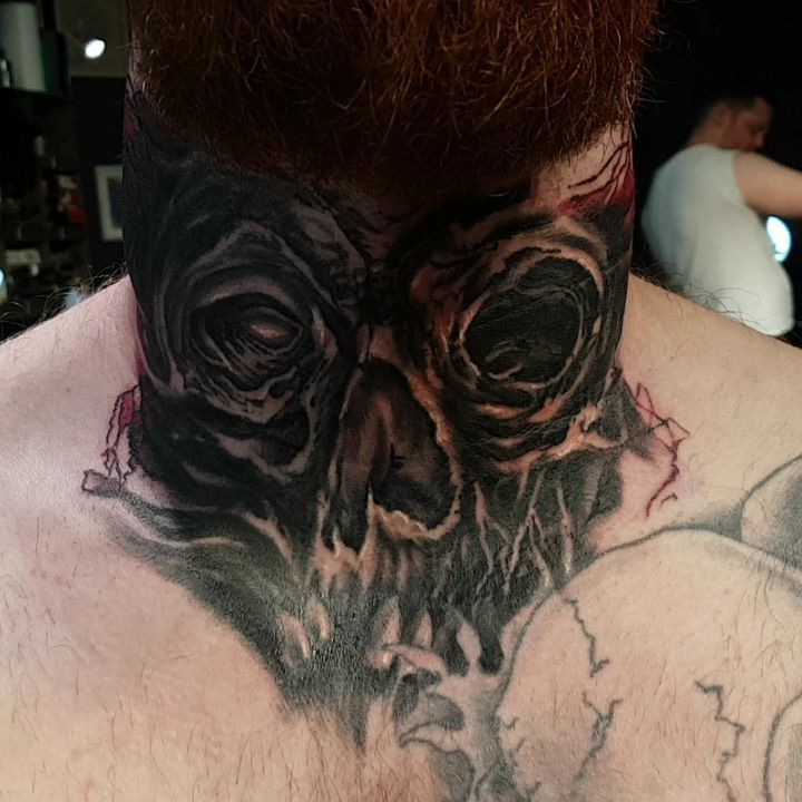 "38 Likes, 1 Comments - Stefan Marcu Art (@stefanmarcuart) on Instagram: ""Neck tattoo ==]----> made with the help of #inkjectanano #darklabrpg #criticaltattoo…"""