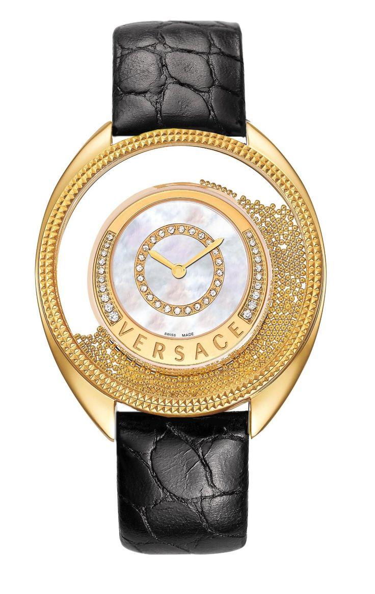 Versace Women's - Destiny Spirit  Floating Spheres in Glass Bezel Mother of Pearl Dial Black Alligator Leather, Gold Diamond Watch