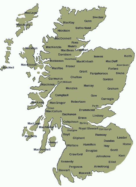 map of scottish clans - mine - Clan MacRae, MacNeill, Bruce, Campbell and Royal Stewart.