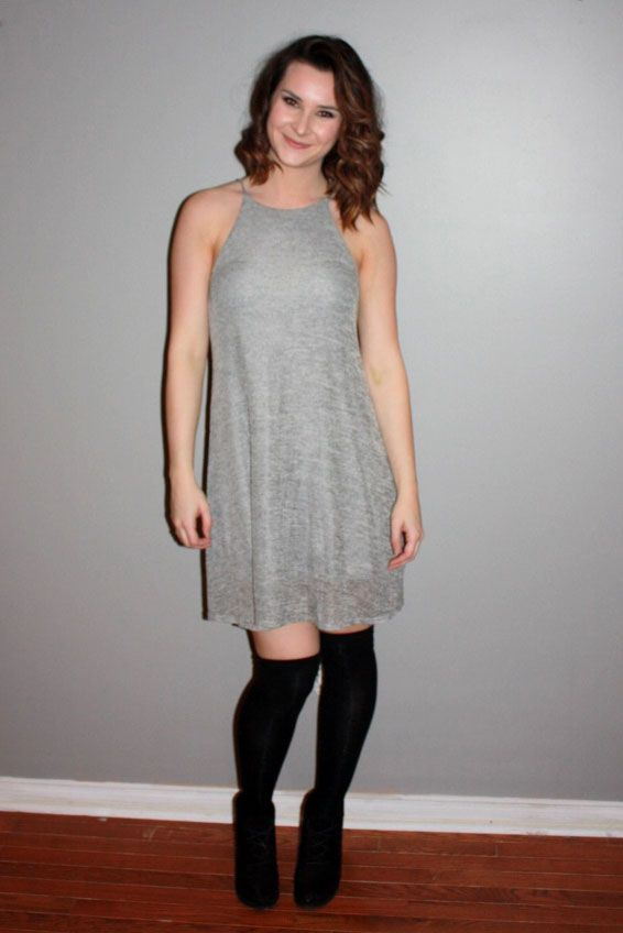 Heather grey dress goes perfect with high socks