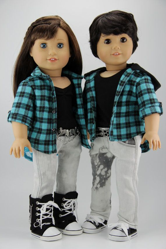 Boy and Girl blue plaid coordinating Outfits for AG dolls:  2 flannel shirts, 2 pairs of skinny jeans, 2 belts and 2 tank tops by DolliciousClothes on Etsy