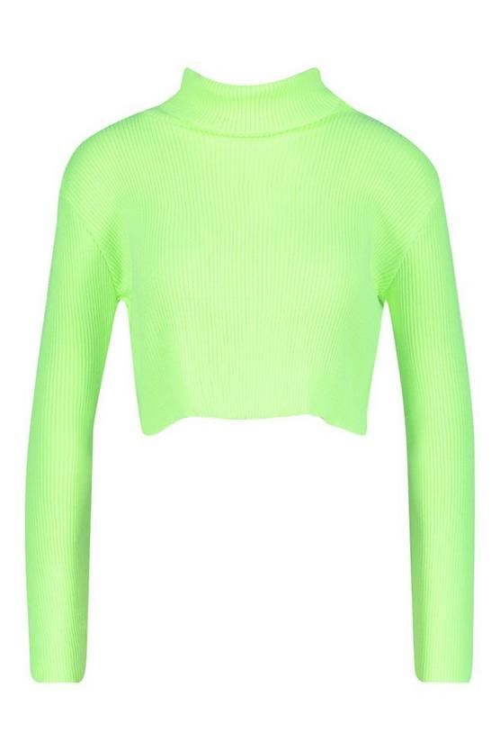 Neon Knitted Roll Neck Crop Sweater | Boohoo in 2019