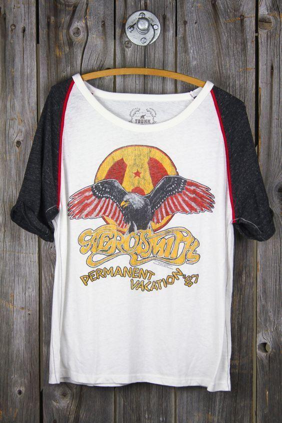 TRUNK LTD NWT Aerosmith '87 Baseball Tee Band Rock N roll T-shirt Permanent *M #TRUNKLTD #GraphicTee