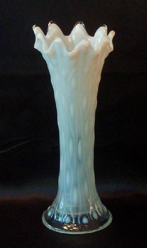 White Opalescent Glass : Gorgeous northwood tree trunk vase in white opalescent