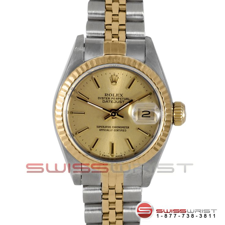 Rolex Ladies Quickset Datejust Two Tone Factory Champagne Stick Dial &  Fluted Bezel On A Jubilee