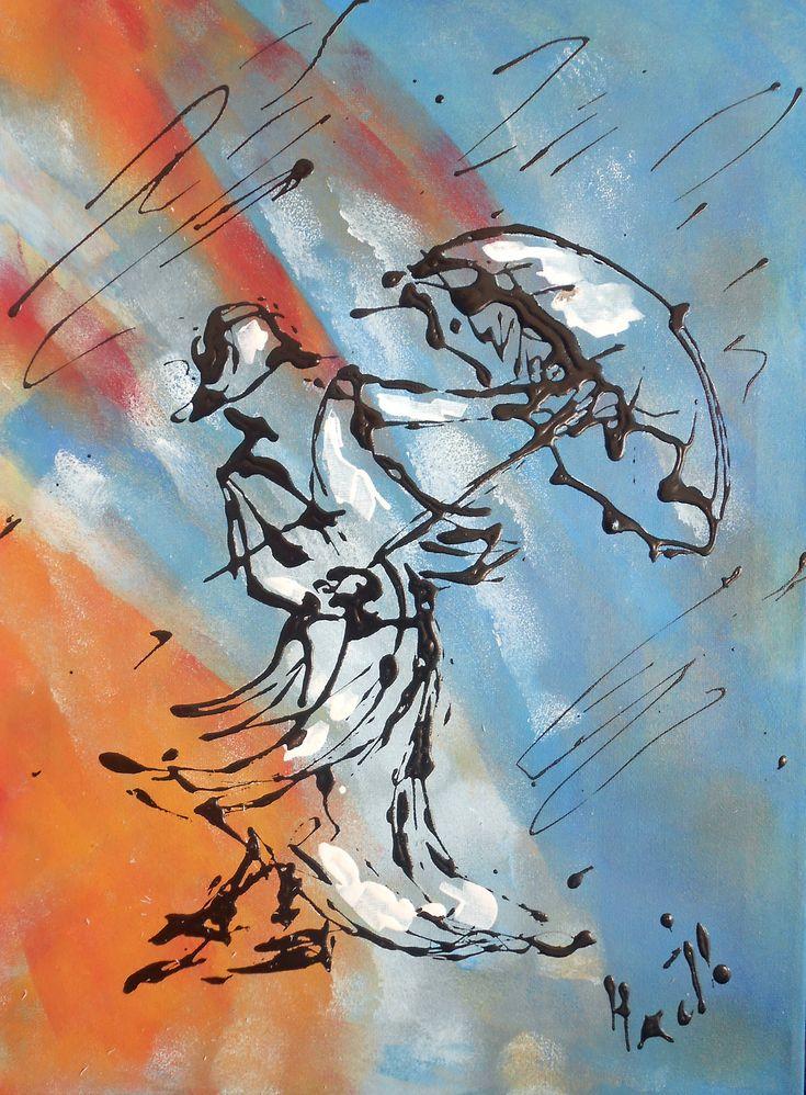 Tableau moderne - femme dans le vent - peintures-axelle-bosler : Peintures par peintures-axelle-bosler