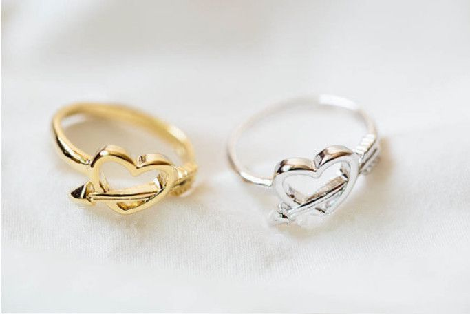 Сочетание цветов из новинка древних амур стрелка и в форме сердца палец кольцо для женщин девушка любитель лаки ювелирные изделия