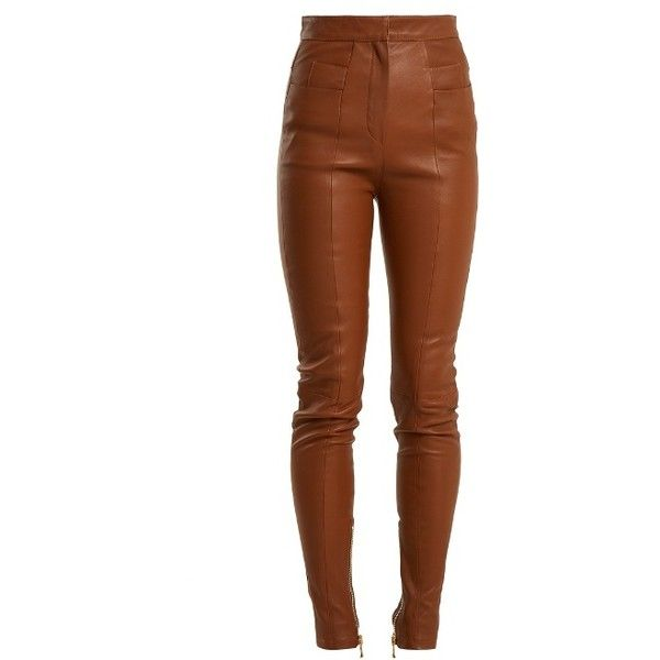 Balmain High-rise skinny leather trousers ($1,795) ❤ liked on Polyvore featuring pants, bottoms, brown, high waisted skinny trousers, leather zipper pants, brown skinny pants, balmain pants and brown pants