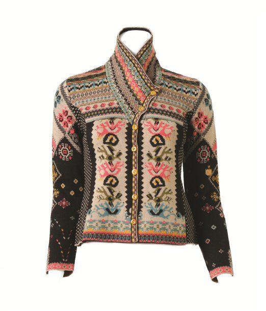 Amazon.com: IVKO Balkan Black and Beige Jacquard Sweater with Shawl Collar…