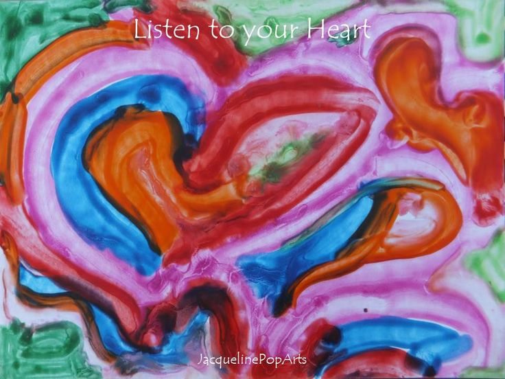 Listen to Your Heart, encaustic art by JacquelinePopArts  - Art with a Heart - Valentijn - Valentines Day