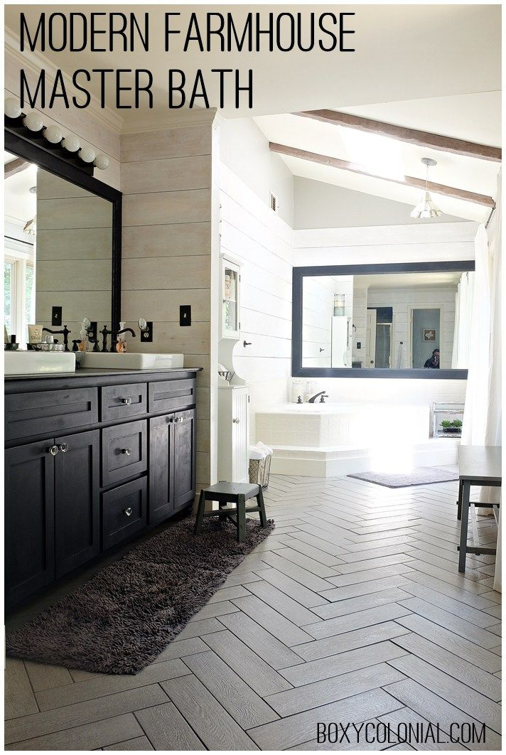Budget friendly modern farmhouse/rustic glam master bathroom makeover, with herringbone tile and plank walls