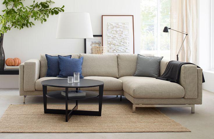 IKEA NOCKEBY 3-sits soffa med schäslong i TENÖ ljusgår klädsel.