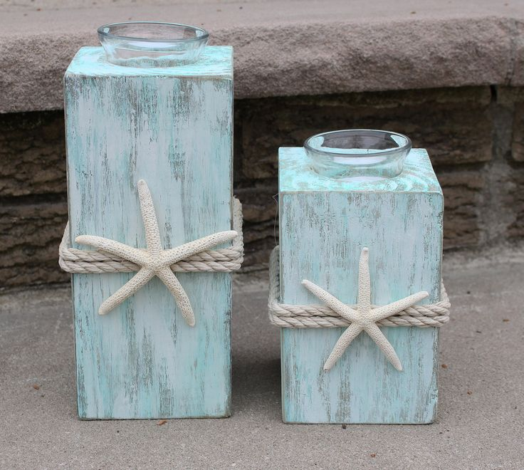 Beach Candle Holders Starfish Candle Holders Beach Wedding Candle Holders Beach Wedding Centerpiece Beach Decor Coastal Decor Distressed by CathyCJewelsandDecor on Etsy