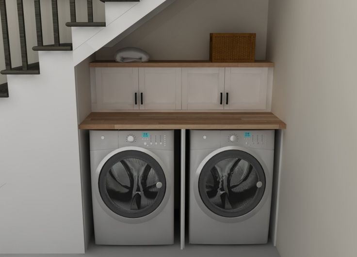 Laundry Room, : Charming Laundry Room Decoration Design Ideas Under Staircase Room, With Light Brown Counter Top, White Wood Wall Drawers And Grey Stainless Steel Washing Machine