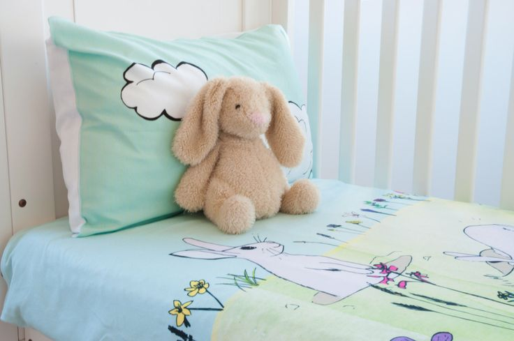 Hello Bunny Toddler Duvet Cover - Crib Bedding Set - Toddler Bedding - Twin Duvet Cover -  Girls Duvet Cover - Matching Wall Art by WakeUpDuvets on Etsy https://www.etsy.com/au/listing/488655629/hello-bunny-toddler-duvet-cover-crib