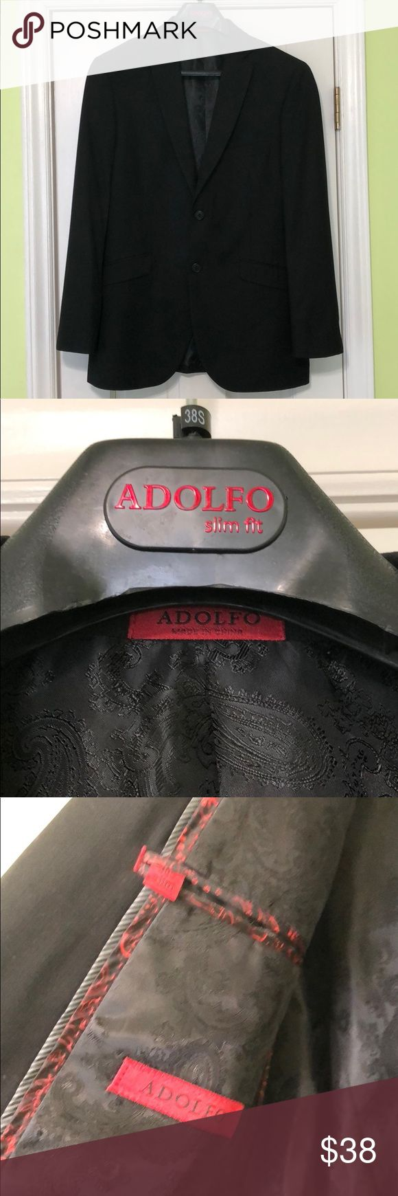 Adolfo Suit Jacket Like New/ worn once / Black Suit Separate 2 button Jacket / breat pockets / fully lined / slim fit Adolfo Suits & Blazers Sport Coats & Blazers