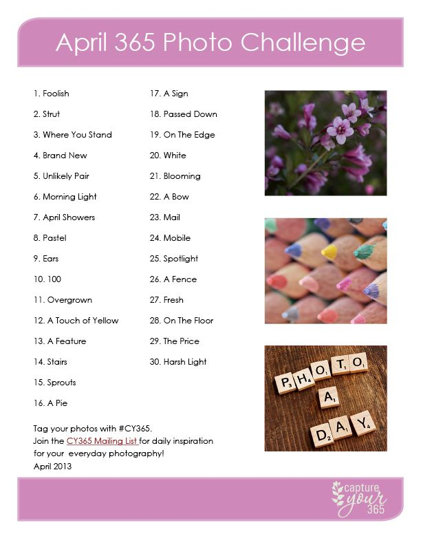 April 365 Photo Challenge List