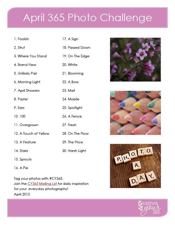 April 365 Challenge List | CaptureYour365