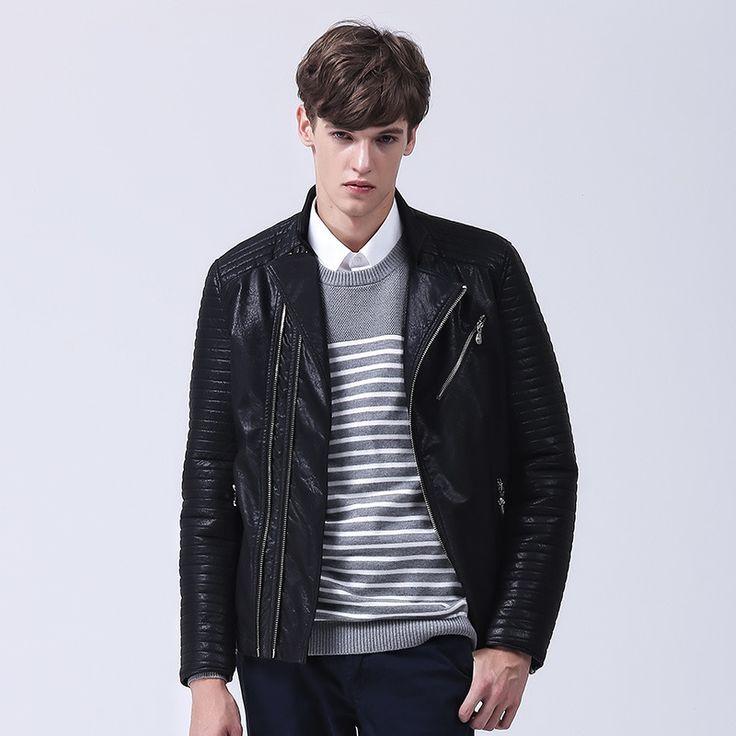 Slim Fit Velet Lining Mens Fashion Leather Jackets Black Quality Cazadoras De Cuero Hombre #Affiliate