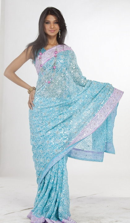 Beautiful Turquoise Blue Saree
