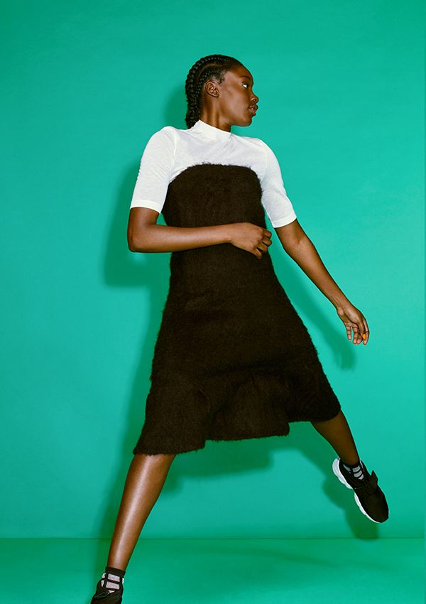 A super unique and nifty dress made from a mohair blend with a knit interior, designed as a stand-out piece for Monki's 10 year B-day collection.