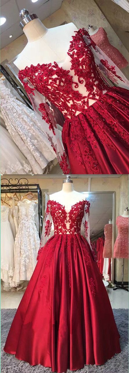 Long Red Long Sleeves Lace Satin Off-the-Shoulder Prom Dresses Party Evening Gowns 3020362