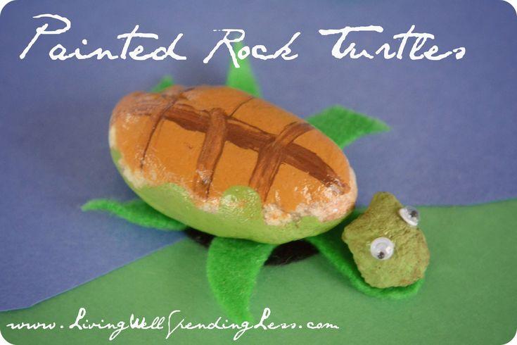 Painted Rock Turtle Craft via www.livingwellspendingless.com