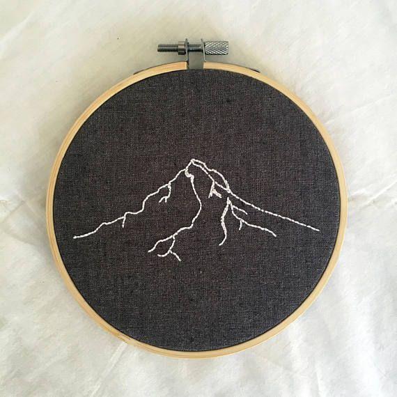 Mount Hood Embroidery Mt Hood Wall Decor Mountain Embroidery Hand Embroidered Pnw Art Mountain Hand Embroidery Hand Embroidery Designs Embroidery Patterns