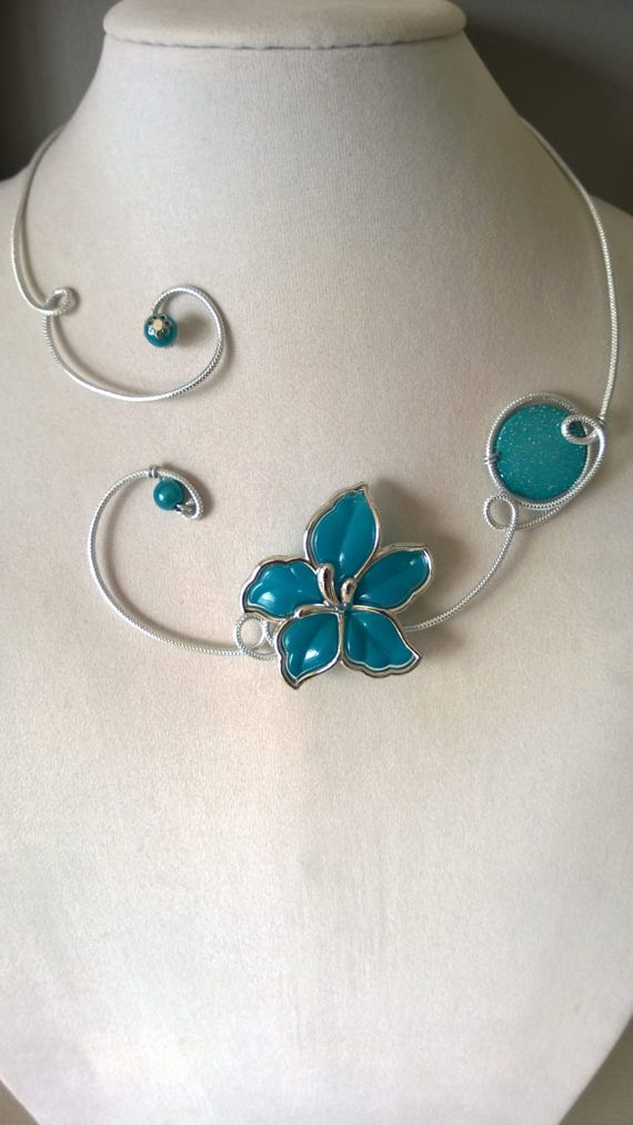 Turquoise jewelry set Turquoise necklace  Metal wire