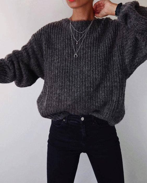 Autumn styling with a gray sweater and black pants