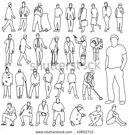 Lots of Men Line Style Drawing 01 - stock vector