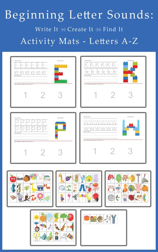 Beginning Letter Sounds, Write it, Create it, Find it -Activity Mats!! This 26 page printable isawesome for preschoolers! They are great on so many levels; handwriting practice, building blocks, and crafting!