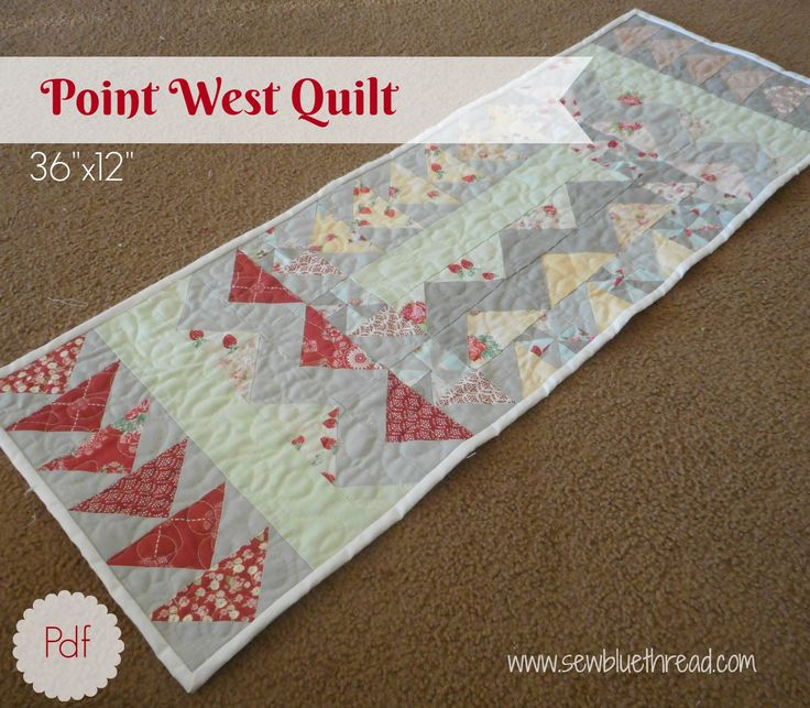 """Point West Quilted table runner, 36""""x12"""".  Easy to follow instructions.  This pattern requires 2 fat quarters, and a charm pack."""