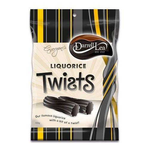 A bulk box of 12 bags of Darrell Lea Liquorice Twists Black.