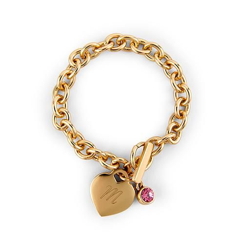 Matte Gold Toggle Charm Bracelet with Gemstone Charm Diamond (April) (Pack of 1)