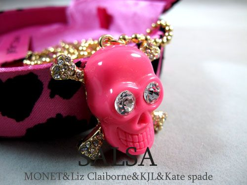 Pink skull with  cross bones necklace pendant diy bling phone deco  | chriszcoolstuff - Craft Supplies on ArtFire