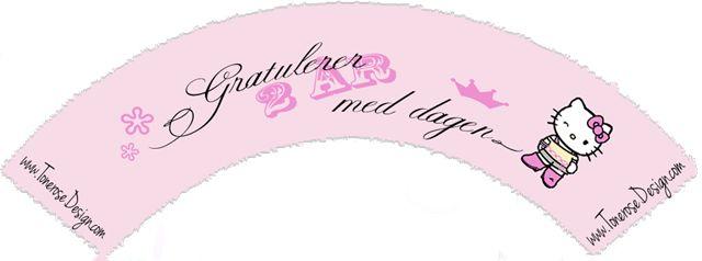 Gratis print cupcake wrapper! Barnebursdag Hello Kitty, flere ulike år/tall på bloggen! =) 2år cupcake wrapper hello kitty