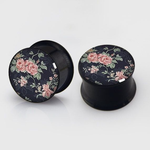 Floral  Plugs,Pairs Titanium Anodized Double Flare Ear Plugs Tunnels Earlets Gauges,Resin Tunnels