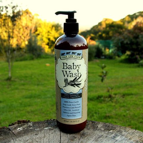 Baby Wash for Sensitive Skin - Four Cow Farm  Four Cow Farm Baby Wash is excellent for babies, children and even adults as an all-over hair, face and body wash that's richly soothing and moisturising. Suitable for irritated skin, dry hair or scalp or those sensitive to chemicals. May be used on skin affected by hives or eczema.