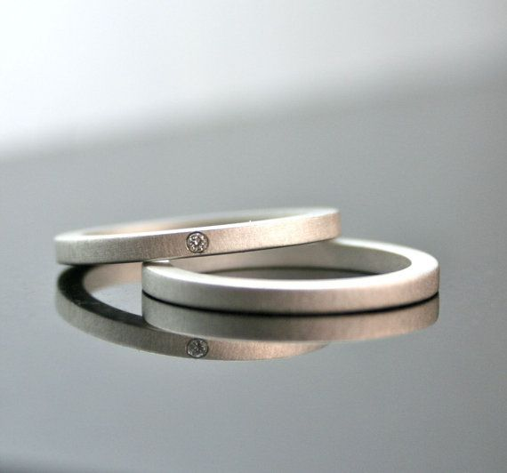 One Tiny Diamond Ring Set - Diamond Engagement Ring - Simple Wedding Bands - Sterling Silver - Matte Finish via Etsy