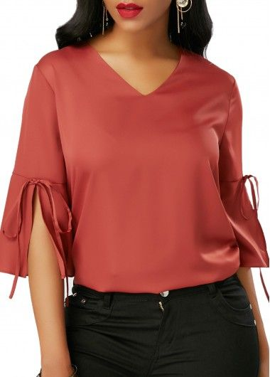 V Neck Slit Sleeve Bowknot Embellished Red Blouse on sale only US$29.22 now, buy cheap V Neck Slit Sleeve Bowknot Embellished Red Blouse at liligal.com